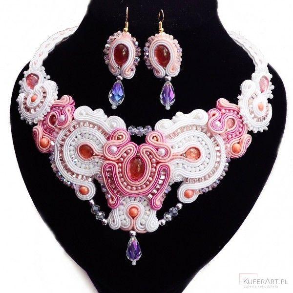 Komplet ślubny biżuteria sutasz - naszyjnik, kolczyki - Biżuteria ślubna - Biżuteria srebrna