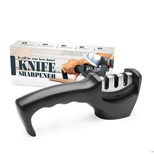 Diamond Ceramic Knife Sharpener Amado Professional Knives Sharpener 3 Stage Sharpening System for KnivesBlack