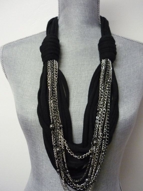 Just Bought this on Etsy! Chunky Scarf Necklace w/chains - Black & Silver - Eco-Friendly Jersey Scarf w/Jewelry Detail