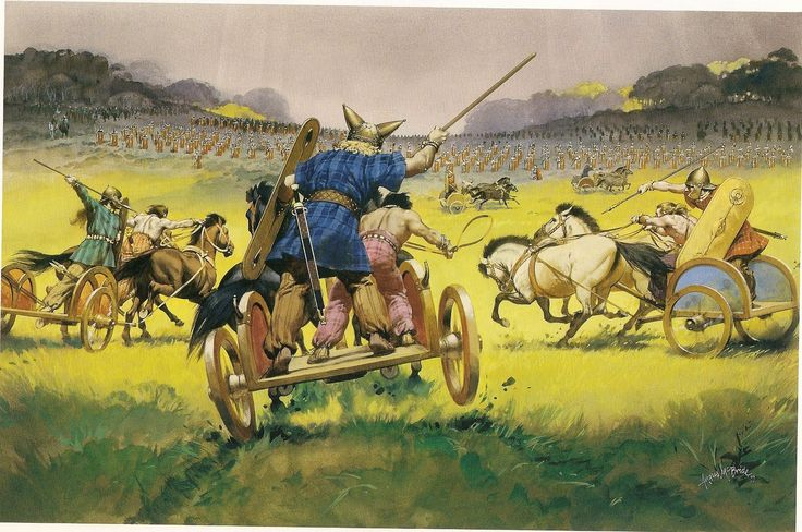 Los carros de Casivelono atacan a los legionarios de César durante la segunda expedición del este a Britania (Angus McBride)