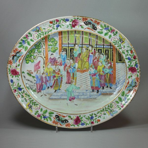 Chinese Canton famille rose 'European subject' oval dish, Jiaqing Period (1796-1820) : The British Antique Dealers' Association