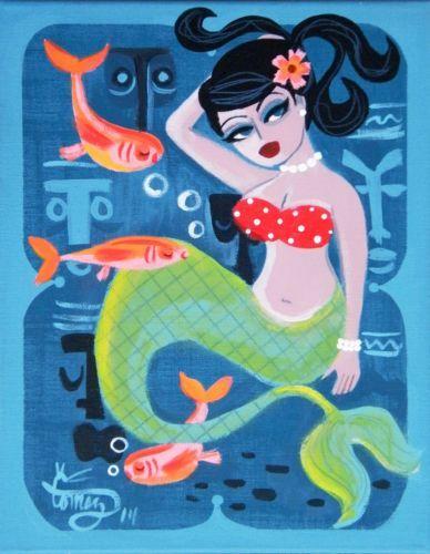 El Gato Gomez Painting Retro Mid Century Modern Pin Up Girl Mermaid Tiki 1950s | eBay
