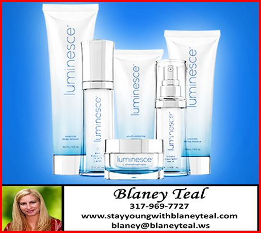 CHECK out our Luminesce skin care line for longer lasting results and amazing improvement in your skin!! Latest break through with Stem Cell Technology. www.stayyoungwithblaneyteal.com