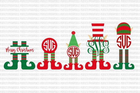 Elf Monogram Elf SVG Christmas Monogram SVG File dxf eps SVG files Silhouette Cameo Cricut Explore Christmas cut files