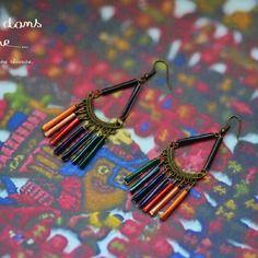 """Boucles d'oreilles ethniques """"toutes en capsules nespresso"""" multicolores"""