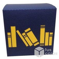 Caja Azul Marino con Libros Amarillos