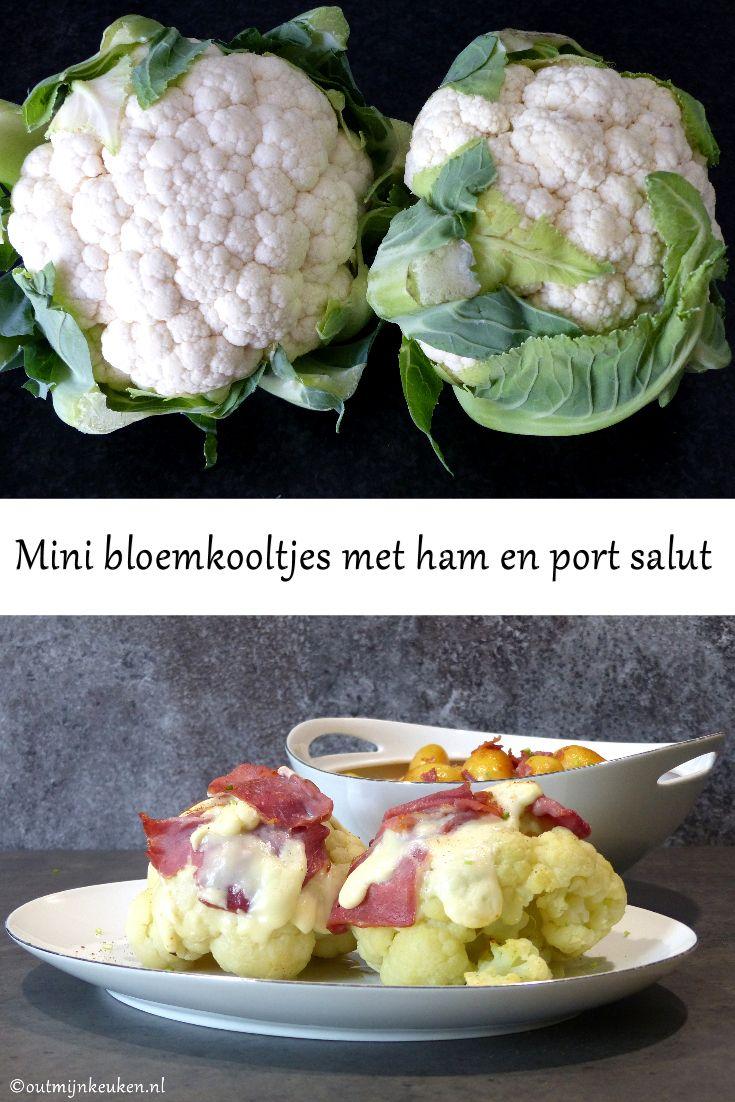 Mini bloemkooltjes met ham en port salut, met gebakken krieltjes