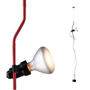 Parentesi+gulvlampe,+rød,+Flos