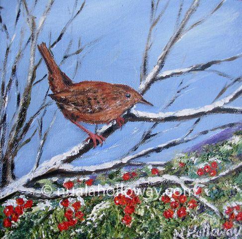 """""""Holly Wren"""" by Nuala Holloway - Oil on Board www.nualaholloway #Holly #Wren #Christmas #NualaHolloway"""