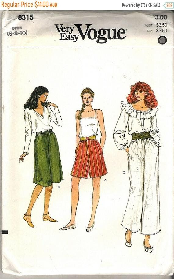 80\'s Sewing Pattern - Vogue 8315 Wide pants in three lengths Size 6 ...