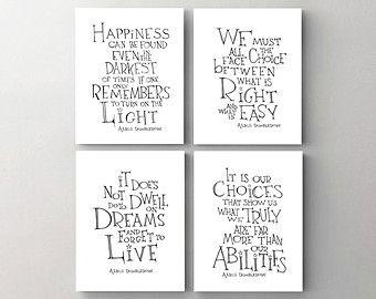 Harry Potter print art -  Albus Dumbledore quote set of 4, drawing art poster, giclee print, kids room wall art, dorm décor