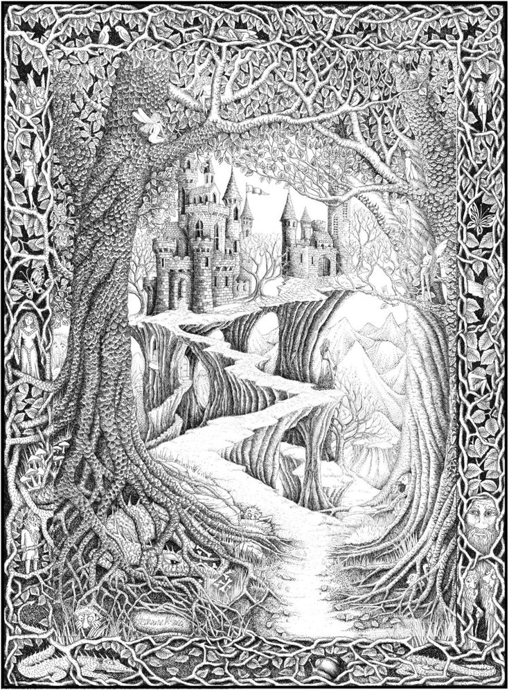 Over the Hills and Far Away by *ellfi on deviantART - detailed pen drawing