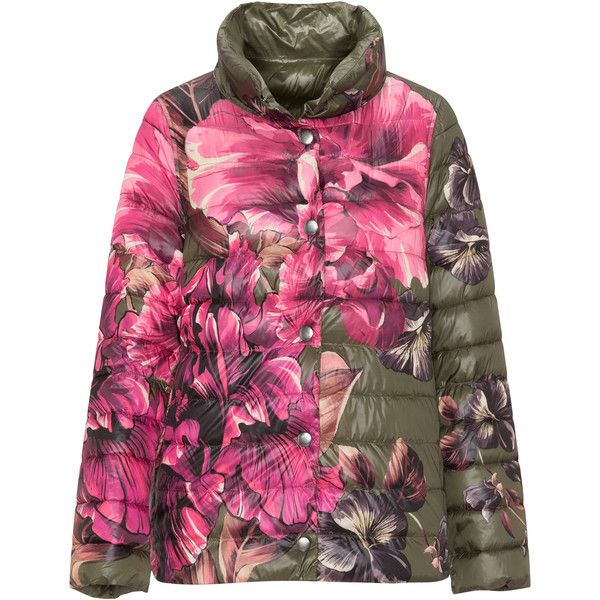 Elena Miro Khaki-Green / Pink Plus Size Floral printed quilted jacket ($305) ❤ liked on Polyvore featuring outerwear, jackets, plus size, green quilted jacket, ski jackets, womens plus jackets, khaki green jacket and women's plus size jackets
