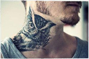 фото татуировки сова на шее мужчины