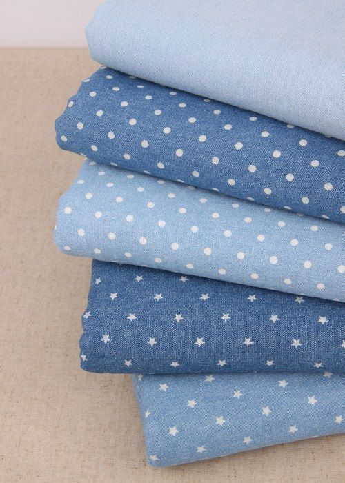 Vintage Washed Denim Blue Jeans Fabric Cotton Fabric with white Dots Star