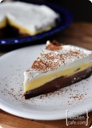 Black Bottom Pie -- choc crumb crust, homemade custard divided into ...