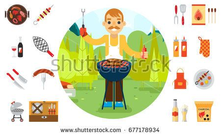 Barbecue man cook vacation food icons car background nature forest mountain flat design vector illustration