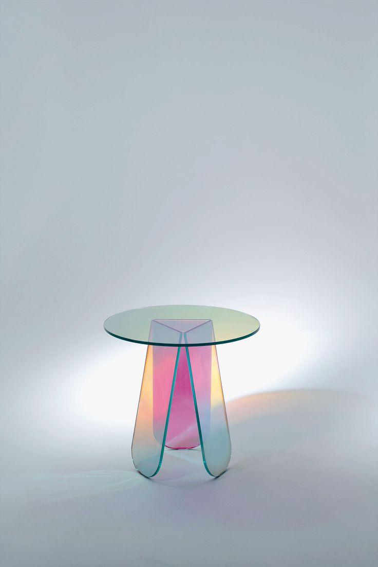 Home gt reception desks gt 12 curved walnut glass top reception desk - Patricia Urquiola With Shimmer For Glas Italia Glass Furniturefurniture