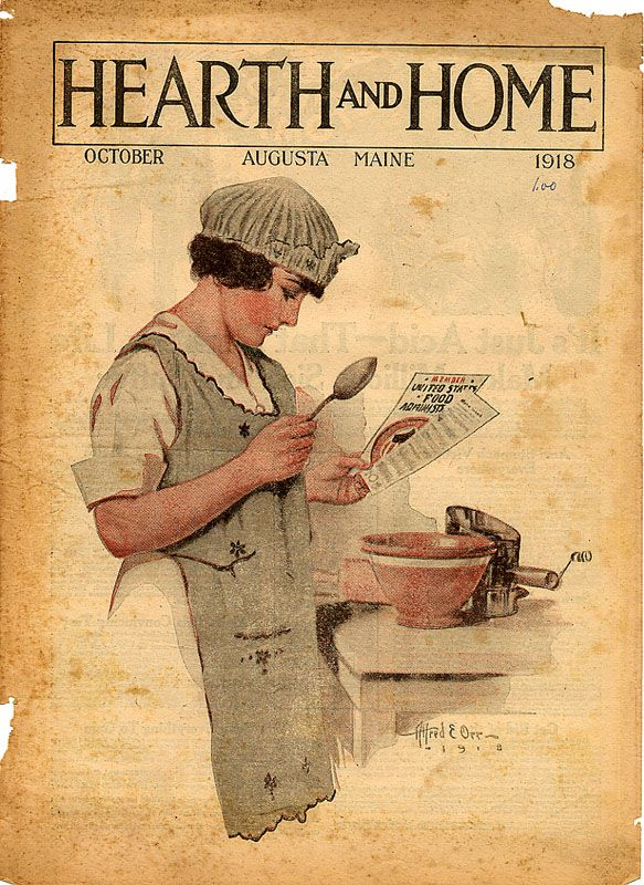 """Woman reading new recipes. Hearth and Home, October 1918. Alfred E. Orr. Vickery and Hill Publishing Company (1918). Sir Charles Higham, rich British British advertising expert, talking about painting, discussed the work of Alfred E. Orr, young U.S. painter, whom he financed. """"Orr looks like a greater man than Rembrandt,"""" Sir Charles remarked; said that he had rented for the painter the studio of the late John Singer Sargent… — Time, April 19, 1926."""