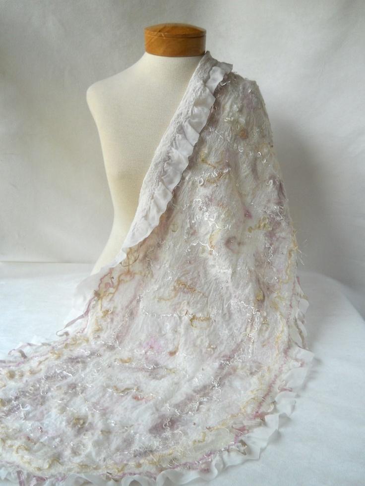 Bridal shawl nuno felted. $155.00, via Etsy.