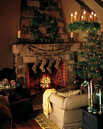 Rustic Holiday Touches: The mantel and tree at Martha's Seal Harbor, Maine, home are decorated with pinecone garlands and ornaments. The beautiful hand-blown glass balls on the table near the sofa are old fishing buoys, which Martha collects. The stockings are made from ingrain carpet remnants.