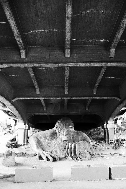 The Fremont Troll - a Seattle must-see under the Fremont bridge - For the best price and experience on your next adventure, call Travel Connections at 815.780.8581 or find us on Facebook at www.Facebook.com/TravelConnectionsPeru!