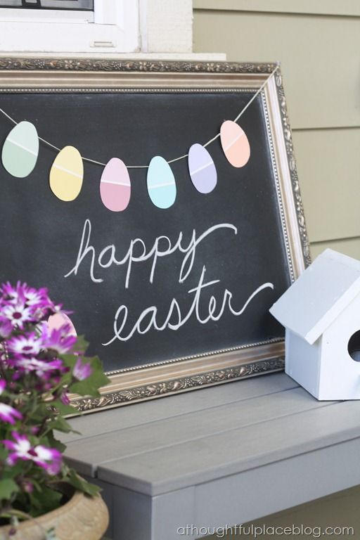 DIY Easter Egg Garland with Paint Chips | A Thoughtful Place
