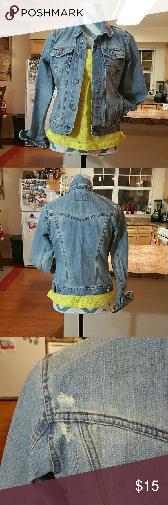 Light wash denim jacket Worn once in perfect condition. Aeropostale light wash denim Jacket. Has some distressing not to crazy. Has some stitching design on front pockets.  Size: medium 100% cotton Jackets & Coats