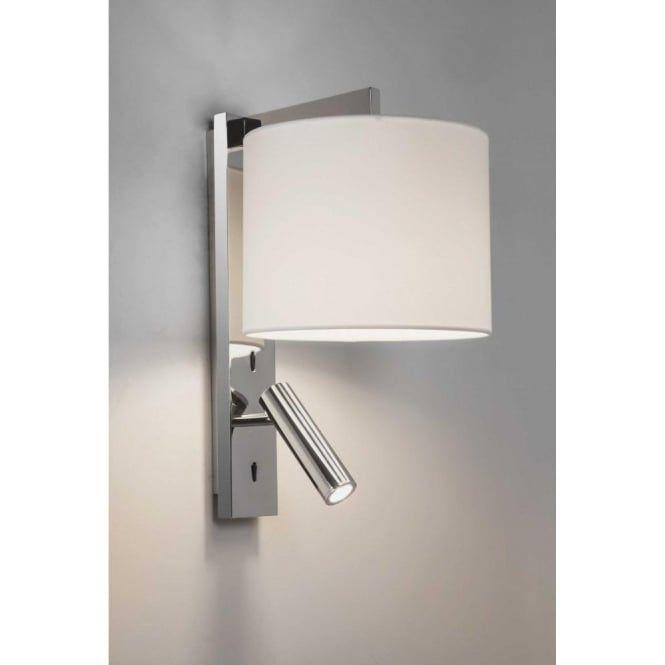 Ravello LED 2 Light Wall Fitting In Polished Chrome Finish With LED Reading Light