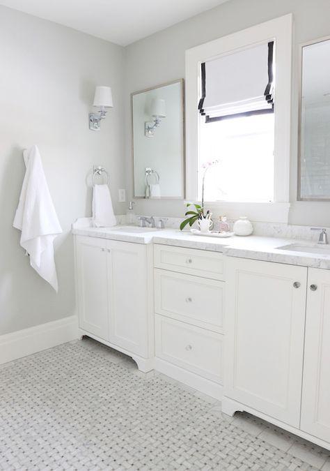 Gray Basketweave Floor Tile, Transitional, Bathroom, Benjamin Moore Moonshine