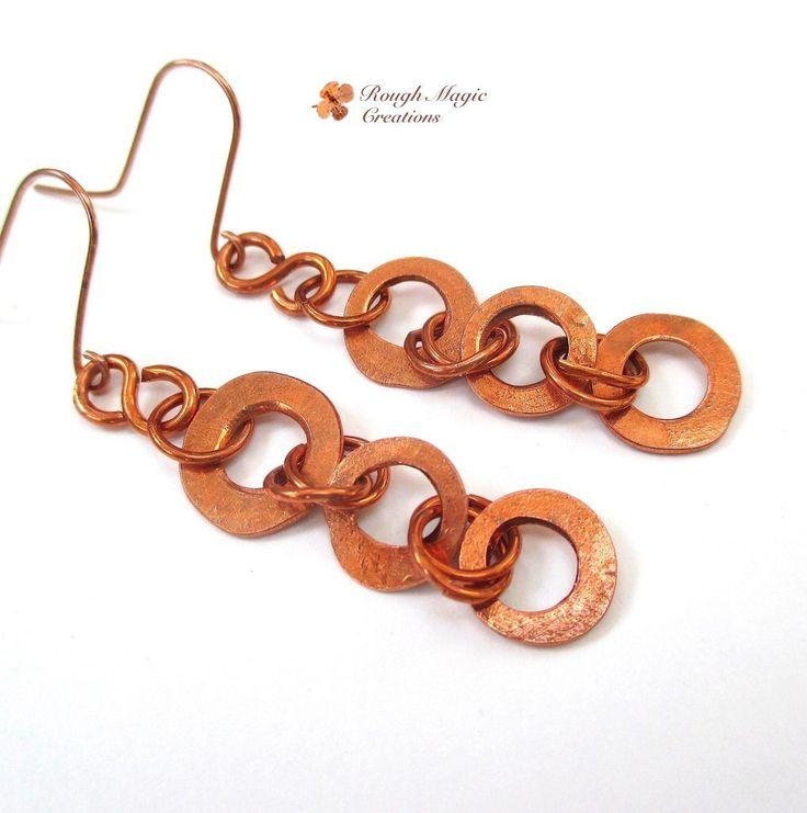Long Copper Earrings, Rustic Shoulder Dusters, Upcycled Eco Friendly Industrial Metal