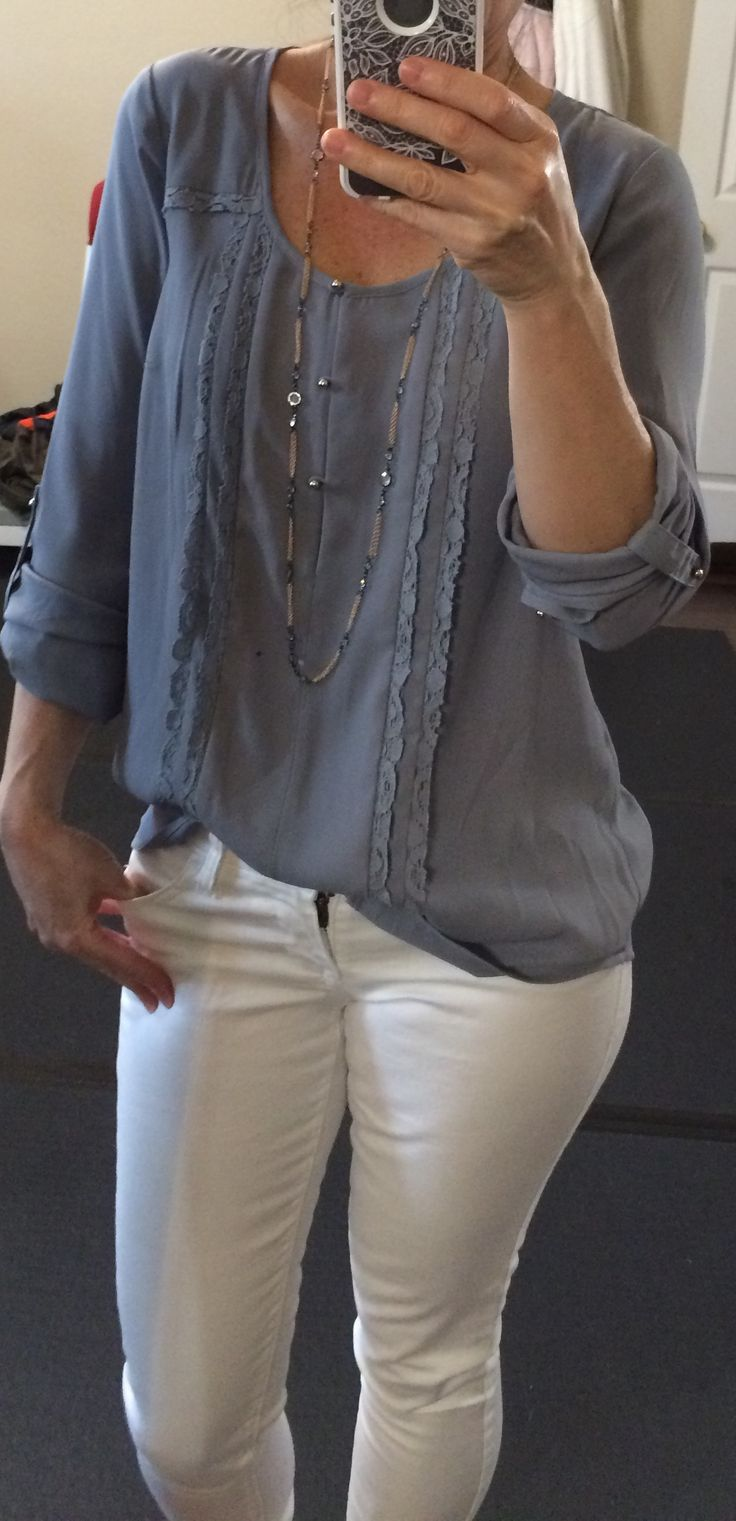 """Dear Stitch Fix Stylist: Just got this Daniel Rainn """"Luna Lace Detail Blouse"""" in my last shipment & it's a keeper. I love the soft & drapy material, the flowy cut, & the dainty feminine detailing. The hue of gray is not really my best color. A darker gray is much better for me (more like charcoal gray). But I think I can make it work with a pop of bright colored accessories."""