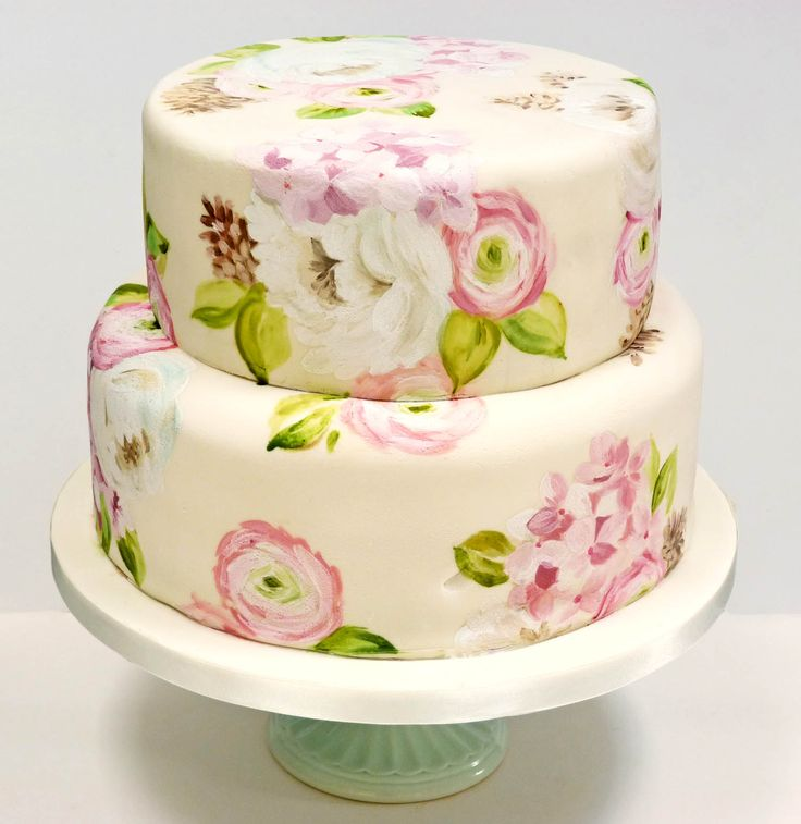 Floral cake online tutorial - Learn how to paint these lovely flowera - ranunculus, gerberas, hydrangea and leaves - and creae beautiful hand-decorated wedding cakes. Nevie-pie cakes, Herefodshire