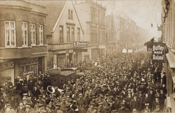 Although preliminary ceasefire negotiations had already started by the end of October 1918, the German navy was ordered to set out for one last battle with British naval units on October 24, 1918. The war-weary sailors of the Thuringia and the Helgoland refused to obey this order.