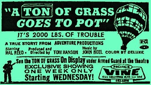 A TON OF GRASS GOES TO POT (a.k.a. THE BIG SCORE) 1972  On DVD. Marijuana, smuggling, rock and roll, stoned hippies, Nazis, black bikers, crooked cops, a shootout, and the one-and-only, Doodles Weaver!   A guy knows where a ton of marijuana is stashed in Tijuana, Mexico. He sells the information to four middle-age guys for $8K. They see this as their get-rich-quick opportunity so they hatch a scheme to move the ton of pot across the border in a hot air balloon.