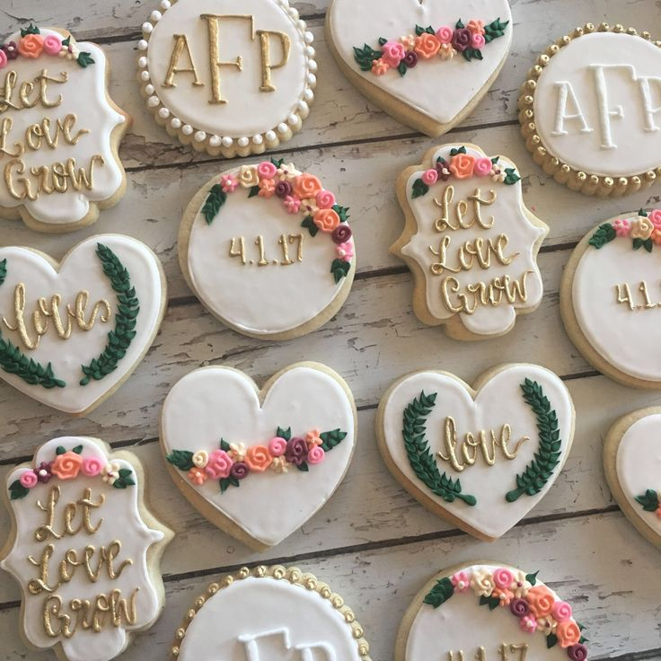 Let love grow bridal shower cookies by TheHayleyCakes on Etsy https://www.etsy.com/listing/506638130/let-love-grow-bridal-shower-cookies