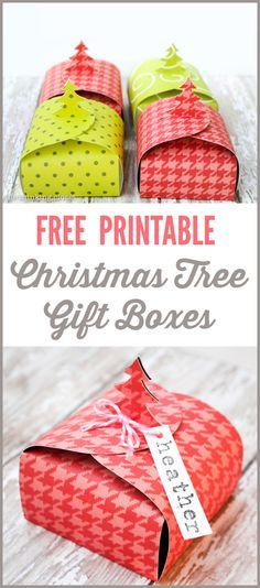 Free Printable Christmas Tree Gift Boxes! Easily create your own Christmas Tree Gift Boxes out of paper! These DIY boxes are perfect for stocking stuffers, co-worker gifts, jewelry, or even a gift at each place setting for Christmas dinner.