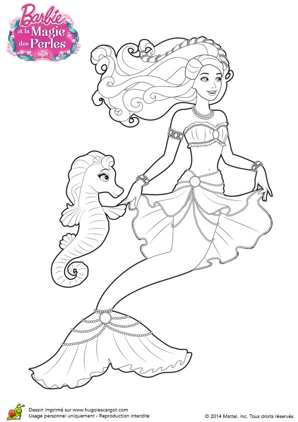 Coloriage de la sirène Barbie Lumina avec sa tenue de perle et son ami hippocampe