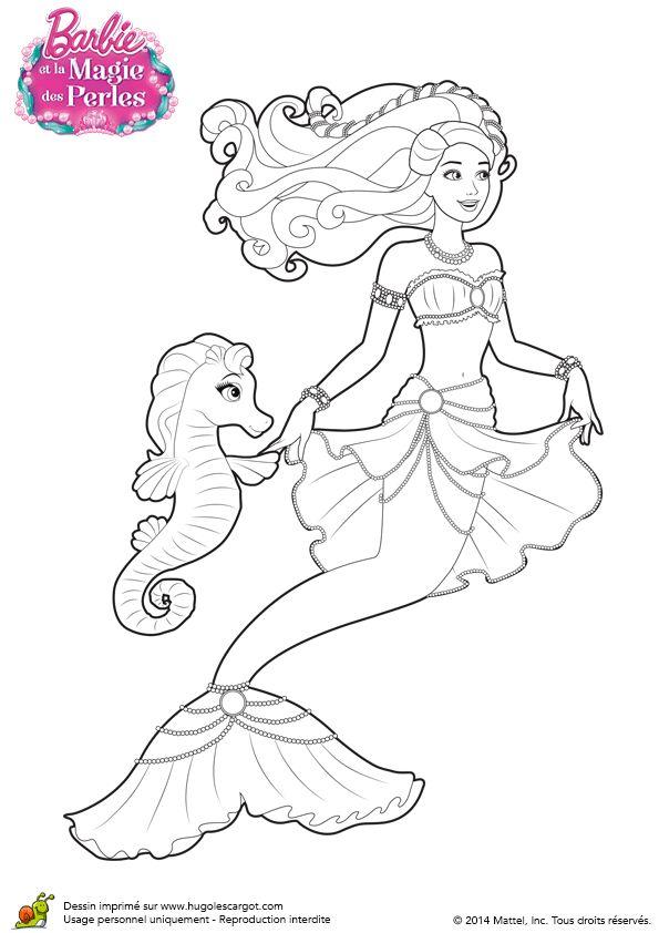 coloriage de la sirne barbie lumina avec sa tenue de perle et son ami hippocampe
