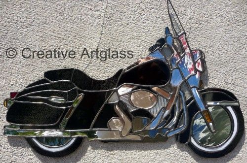 Stained Glass Motorcycle -Black and Chrome Motorcycle Sun Catcher * | CreativeArtglass - Glass on ArtFire