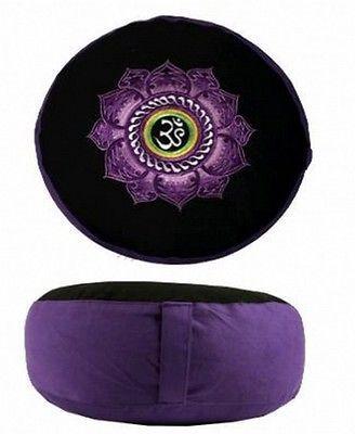 Coussin-de-meditation-Zafu-Yoga-Violet-Noir-avec-OM-AUM-sur-lotus-brode