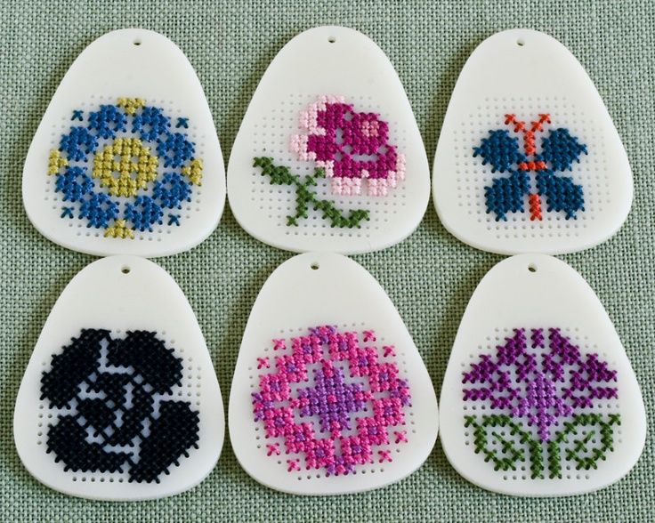 DIY Cross Stitch Pendant Blank - Ivory Teardrop Acrylic. $12.00, via Etsy.
