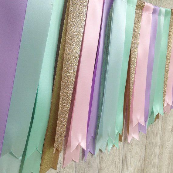 Unicorn Ribbon Garland Pastel Wedding Garland Birthday by Lexiana
