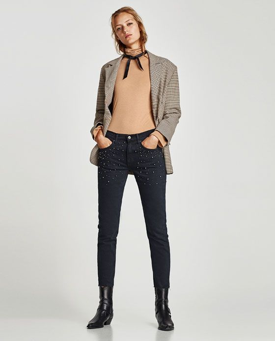 Image 1 of BOYFRIEND JEANS WITH FAUX PEARLS from Zara