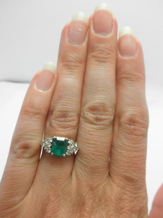 HUGE natural Emerald  8X7mm   not oiled set with 12 by gems4borth, $5995.00