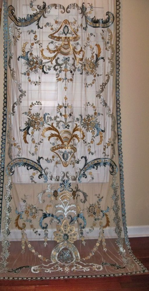 ITALIAN EMBROIDERED VELVET FABRIC SHEER DRAPES PANEL SAPPHIRE CREAM ICE BLUE .  Isn't it beautiful!?