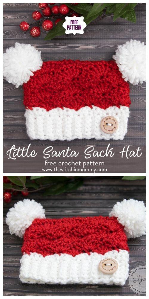 Crochet Santa Clause Sack Hat Free Crochet Patterns-All Sizes