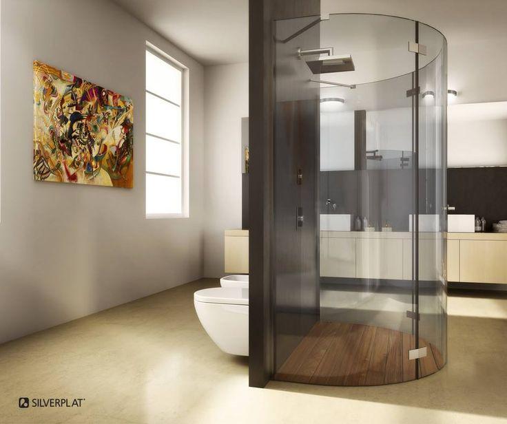 Ottima disposizione degli ambienti, i sanitari vengono nascosti dalla parete che include, nella parte opposta, una splendida cabina doccia su misura a centro stanza.. #SILVERPLAT #design #cabinadoccia #doccia #bagno #docciadesign #bagnodesign #bagnomoderno #interni #progettazione