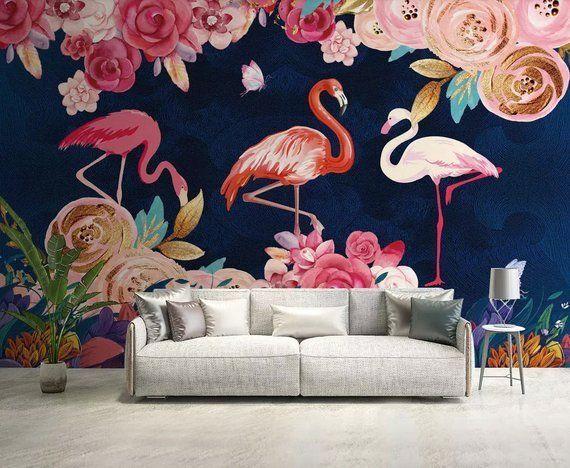 Wallpaper Wall Murals Bedroom Printable Art Wall Decor Flamingo Wallpaper
