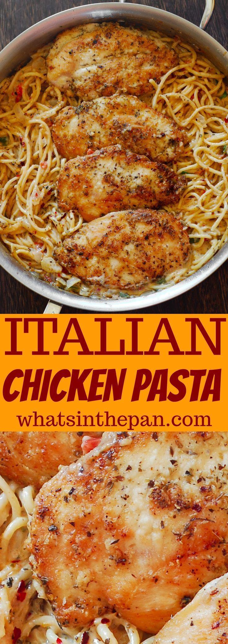 Italian Chicken Pasta in Creamy White Wine Parmesan Cheese Sauce #chickenpasta #…
